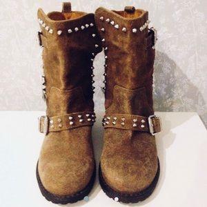 Zara studded chestnut suede leather biker boots